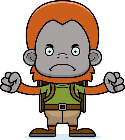 hiker: A cartoon hiker orangutan looking angry.