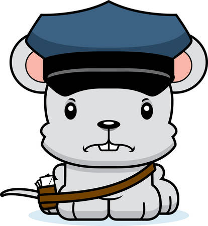 mail carrier: A cartoon mail carrier mouse looking angry.
