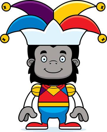 A cartoon jester gorilla smiling. Reklamní fotografie - 44606389