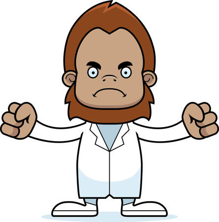 A cartoon doctor sasquatch looking angry.