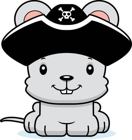rata caricatura: A cartoon pirate mouse smiling.
