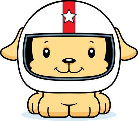 car driver: A cartoon race car driver puppy smiling.