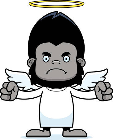 angry angel: A cartoon angel gorilla looking angry. Illustration