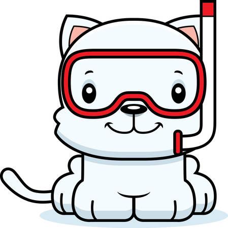 A cartoon snorkeler kitten smiling.