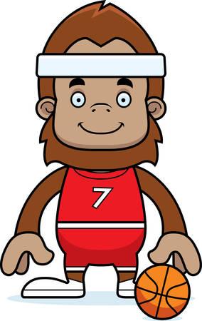 sasquatch: A cartoon basketball player sasquatch smiling.