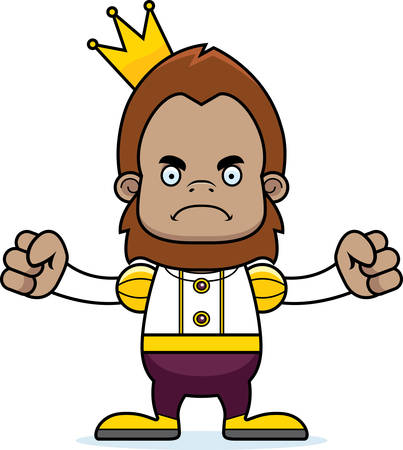 sasquatch: A cartoon prince sasquatch looking angry. Illustration