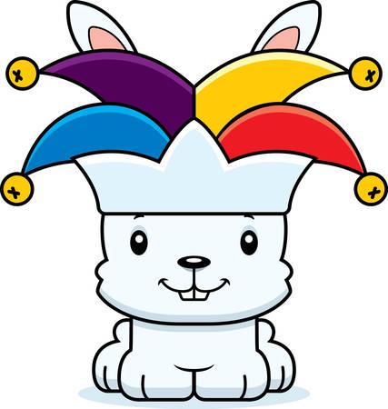 jester: A cartoon jester bunny smiling.