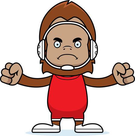 A cartoon wrestler sasquatch looking angry.