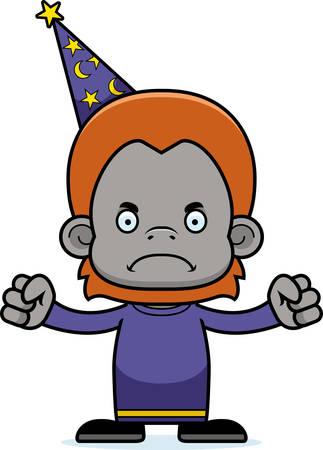 orangutan: A cartoon wizard orangutan looking angry.