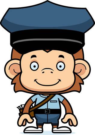 Een cartoon postbode aap lachend.