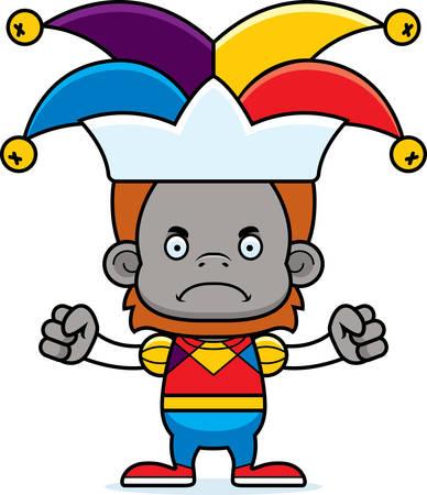 jester: A cartoon jester orangutan looking angry.