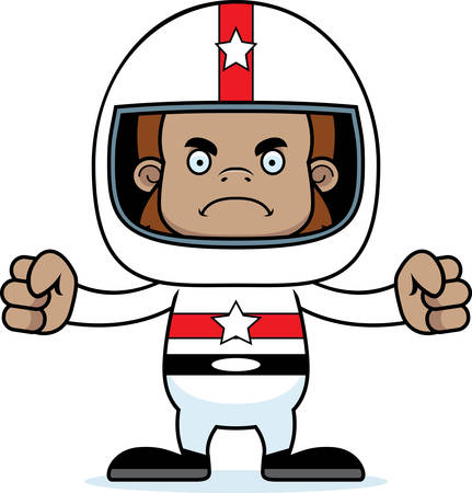 sasquatch: A cartoon race car driver sasquatch looking angry. Illustration