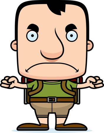 A cartoon hiker man looking angry.
