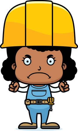 handyman cartoon: A cartoon construction worker girl looking angry. Illustration