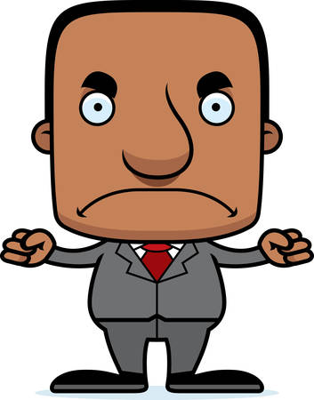 businessperson: A cartoon businessperson man looking angry. Illustration