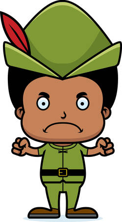 A cartoon Robin Hood boy looking angry.