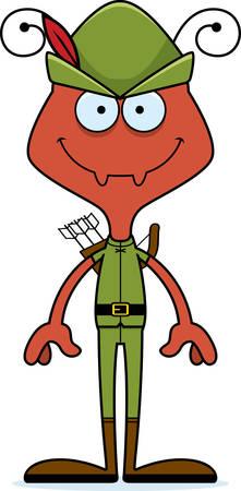 robin hood: A cartoon Robin Hood ant smiling. Illustration