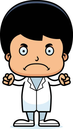 A cartoon doctor boy looking angry.