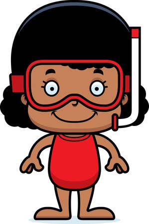 enfant maillot de bain: Une jeune fille de snorkeler sourire de bande dessin�e.