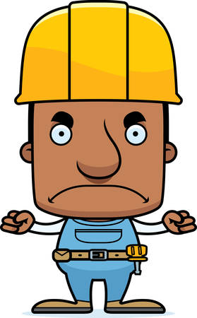 worker man: A cartoon construction worker man looking angry.