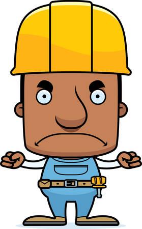 Een cartoon bouwvakker man op zoek boos.