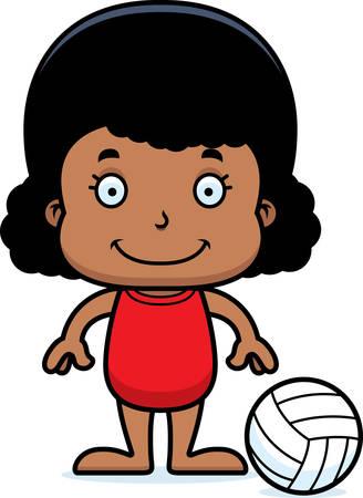 playa caricatura: Un jugador de voleibol playa chica de dibujos animados sonriendo. Vectores