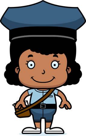 A cartoon mail carrier girl smiling. Ilustração