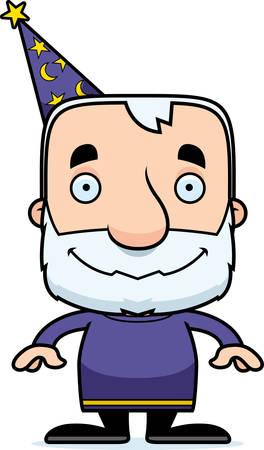 A cartoon wizard man smiling. Ilustração