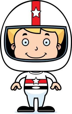 race car driver: A cartoon race car driver boy smiling.