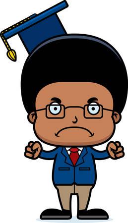 A cartoon teacher boy looking angry. Ilustração