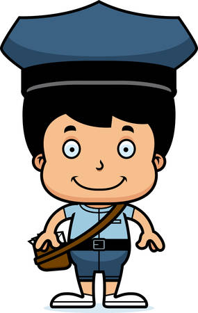 A cartoon mail carrier boy smiling.