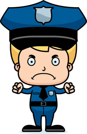 police cartoon: A cartoon police officer boy looking angry.
