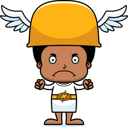 greek god: A cartoon Hermes boy looking angry.