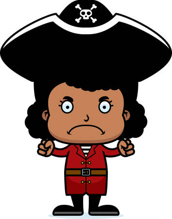 pirate girl: A cartoon pirate girl looking angry.