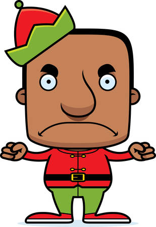 elf hat: A cartoon Xmas elf man looking angry. Illustration