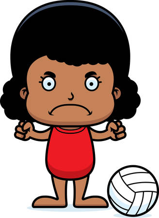 A cartoon beach volleyball player girl looking angry. Stock Illustratie