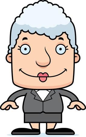 businessperson: A cartoon businessperson woman smiling.