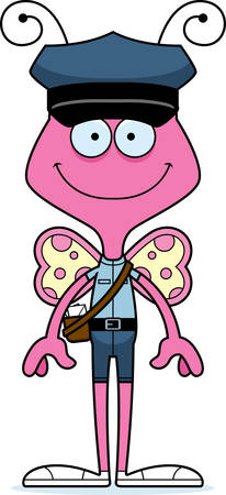 carrier: A cartoon mail carrier butterfly smiling.