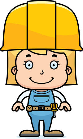 tool belt: A cartoon construction worker girl smiling. Illustration