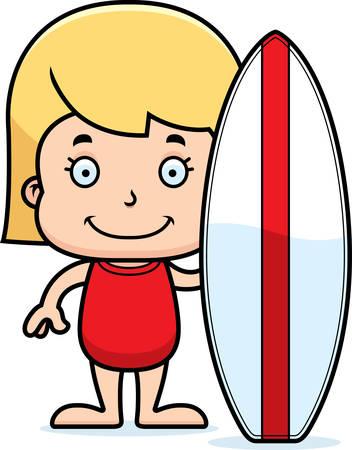 enfant maillot de bain: Une surfeuse de bande dessin�e de sourire. Illustration