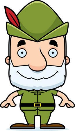 Een cartoon Robin Hood man glimlachend.