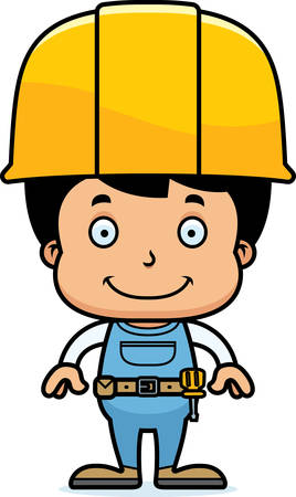 A cartoon construction worker boy smiling.