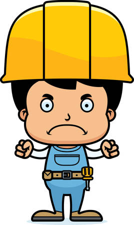 tool belt: A cartoon construction worker boy looking angry.