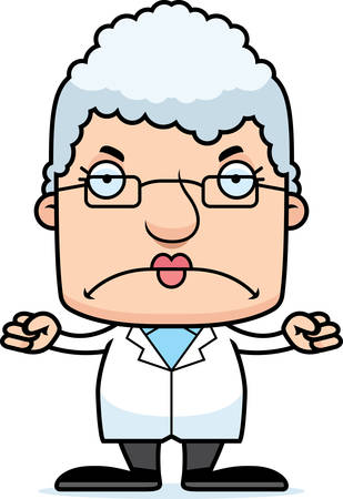 A cartoon scientist woman looking angry.