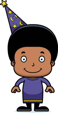 A cartoon wizard boy smiling.