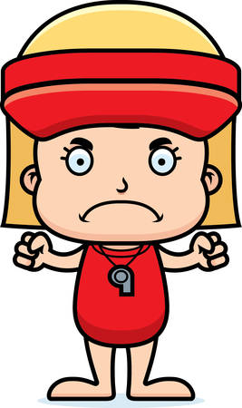 hat with visor: A cartoon lifeguard girl looking angry. Illustration