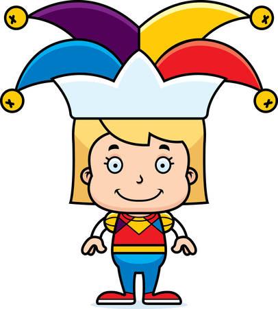 jester: A cartoon jester girl smiling.