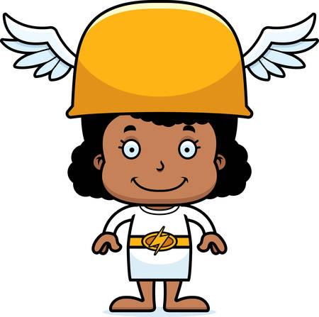 hermes: A cartoon Hermes girl smiling. Illustration