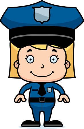 police girl: A cartoon police officer girl smiling.