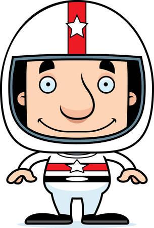 race car driver: A cartoon race car driver man smiling.